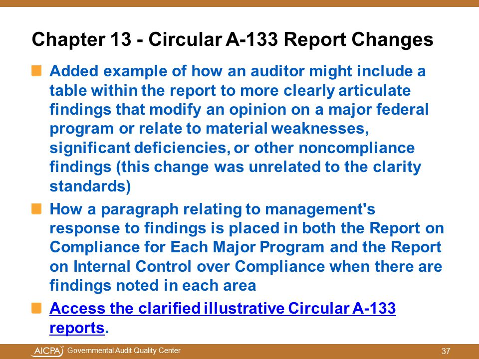 Chapter 13 - Circular A-133 Report Changes