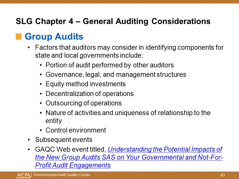 SLG Chapter 4 – General Auditing Considerations