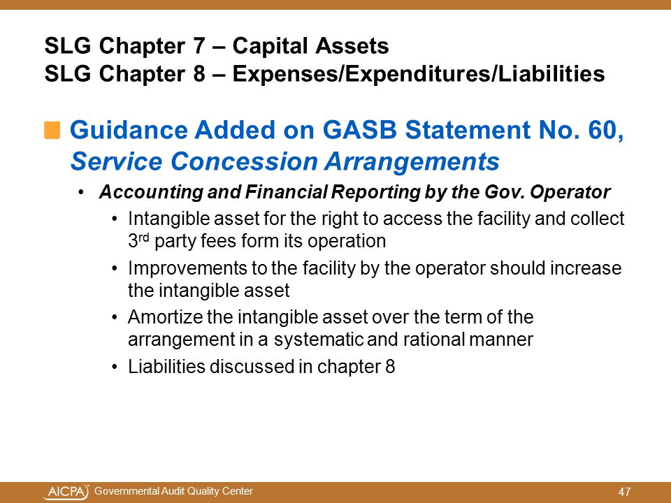 SLG Chapter 7 – Capital Assets SLG Chapter 8 – Expenses/Expenditures/Liabilities