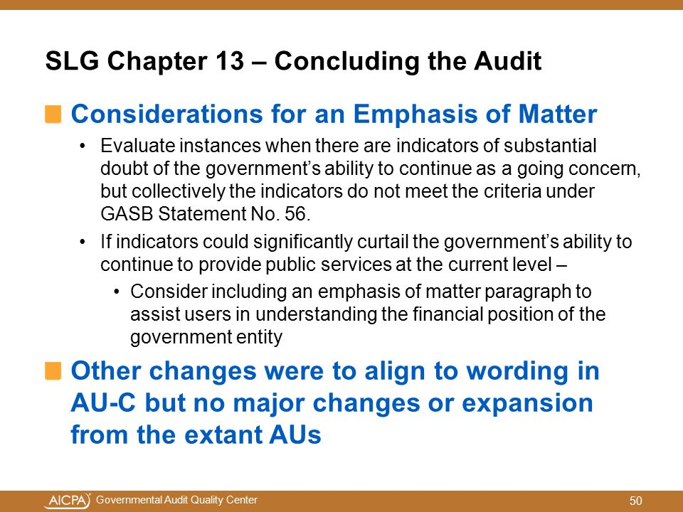 SLG Chapter 13 – Concluding the Audit