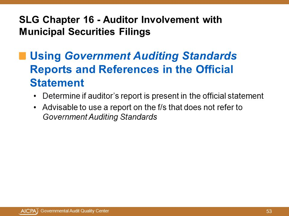 SLG Chapter 16 - Auditor Involvement with Municipal Securities Filings