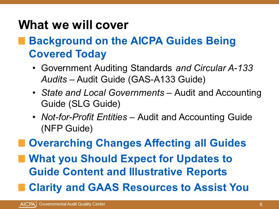 What we will cover Background on the AICPA Guides Being Covered Today