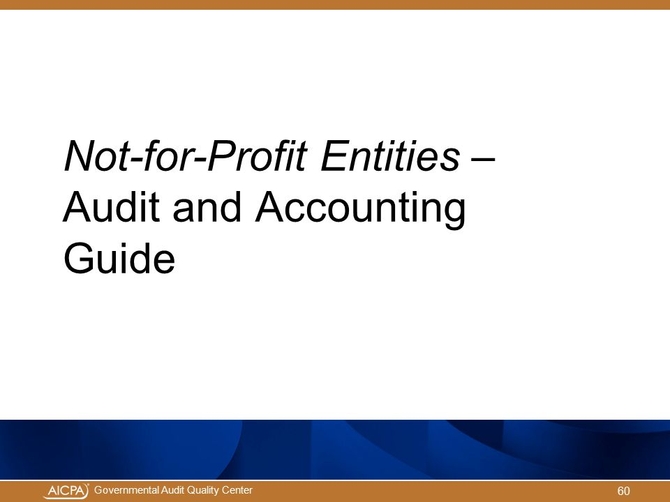 Not-for-Profit Entities – Audit and Accounting Guide