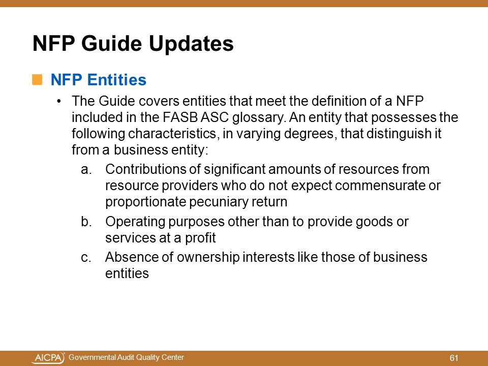 NFP Guide Updates NFP Entities