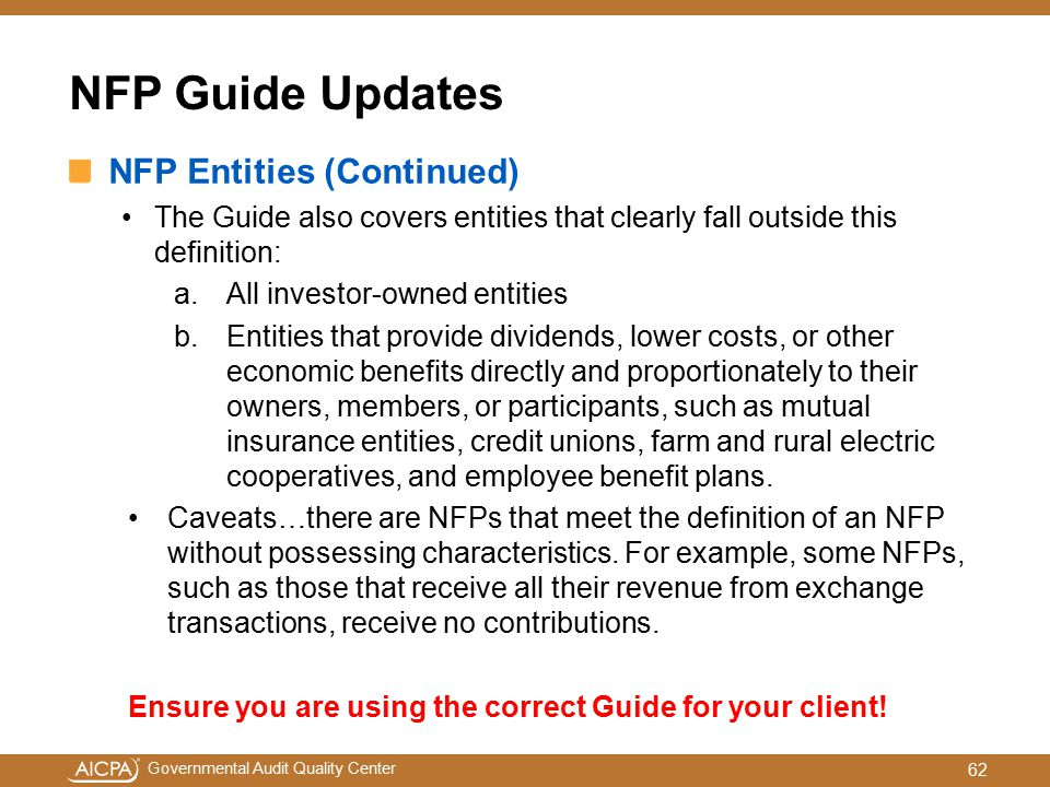 NFP Guide Updates NFP Entities (Continued)