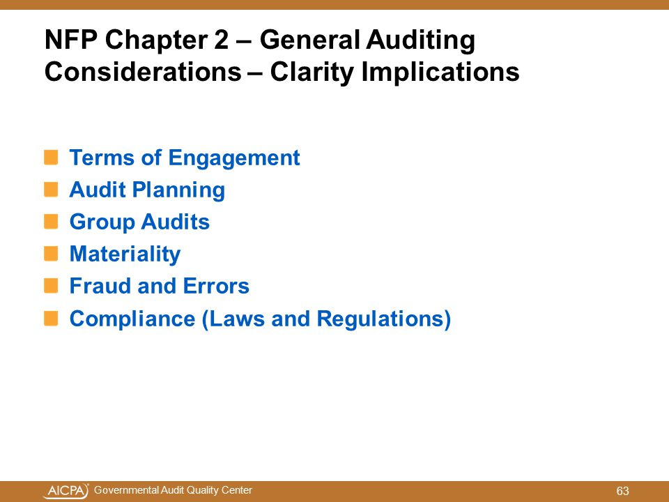 NFP Chapter 2 – General Auditing Considerations – Clarity Implications
