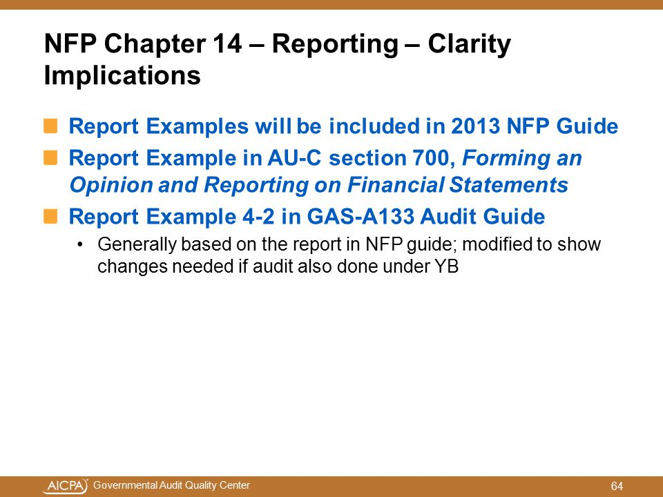 NFP Chapter 14 – Reporting – Clarity Implications