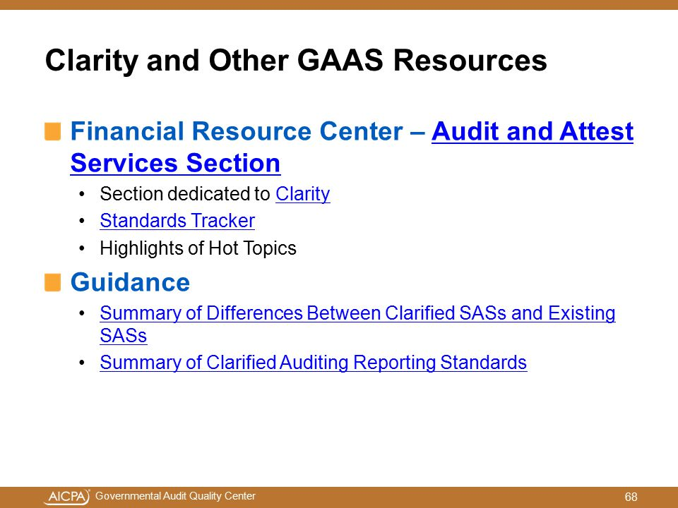 Clarity and Other GAAS Resources