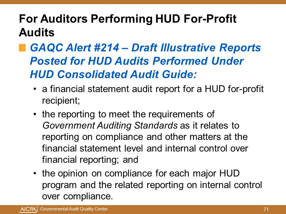 For Auditors Performing HUD For-Profit Audits