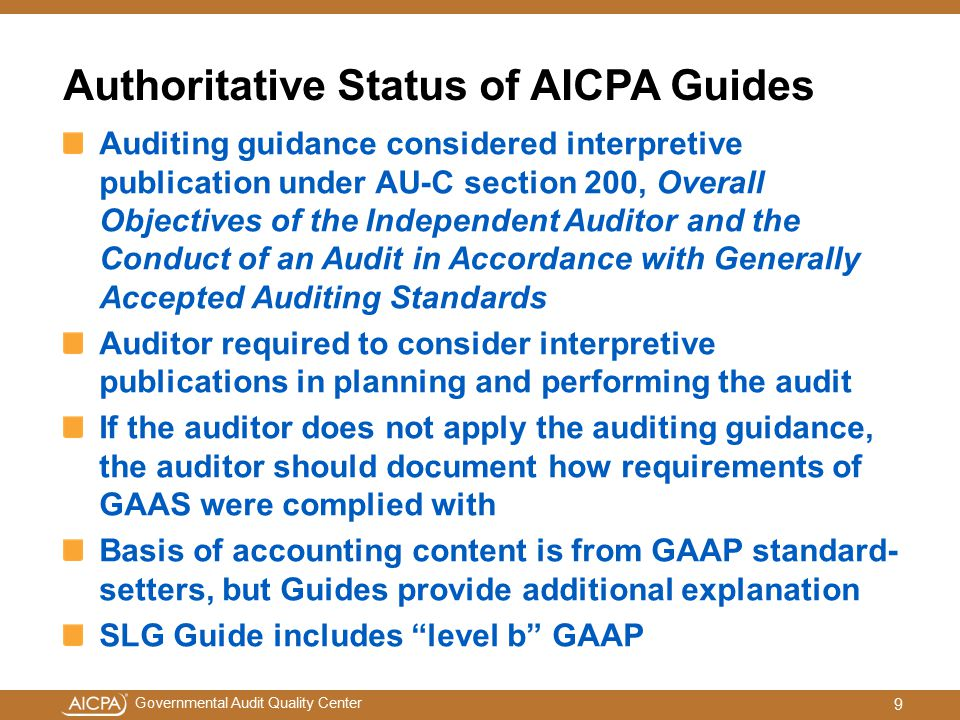 Authoritative Status of AICPA Guides