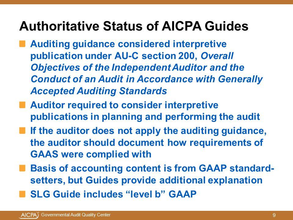 Authoritative Status of AICPA Guides
