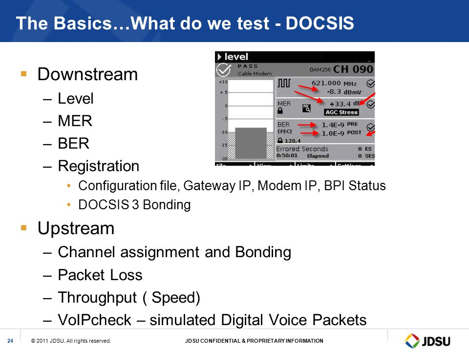 The Basics…What do we test - DOCSIS