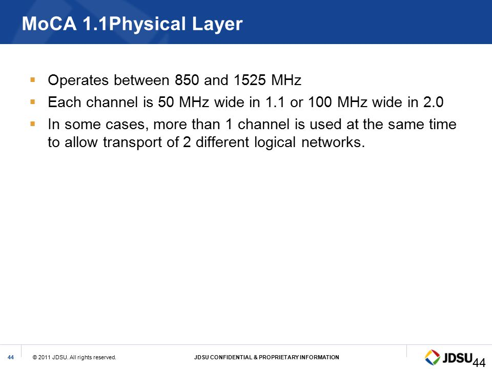 MoCA 1.1Physical Layer Operates between 850 and 1525 MHz