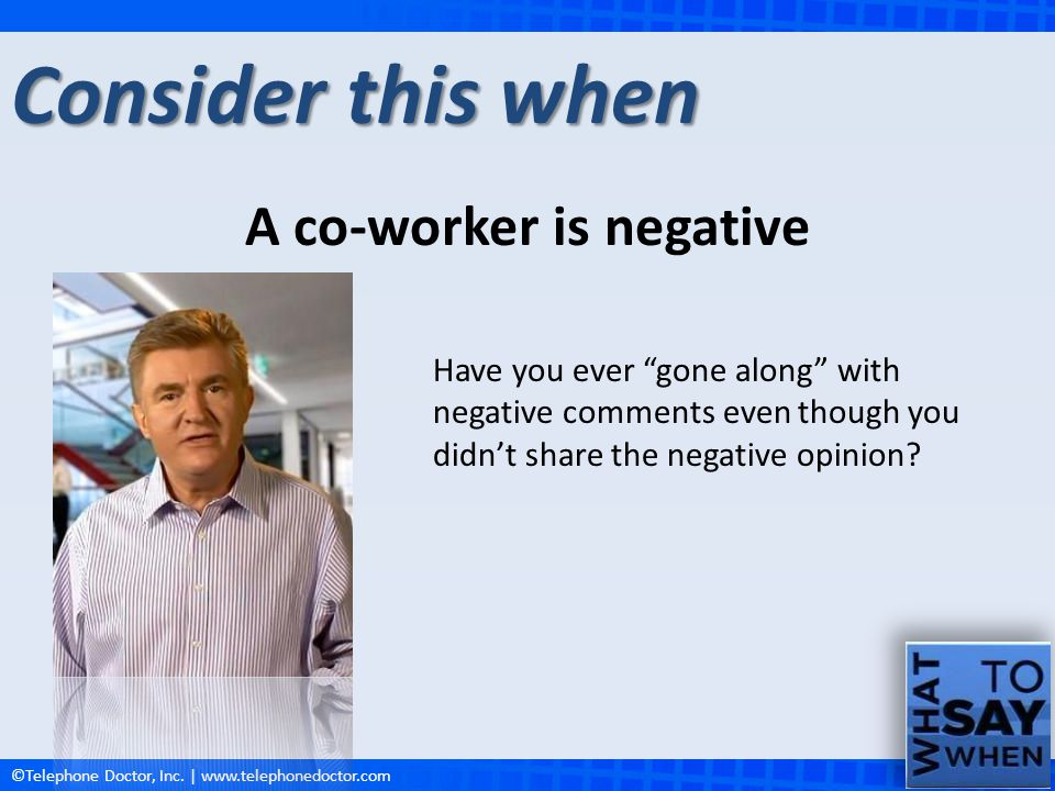 A co-worker is negative
