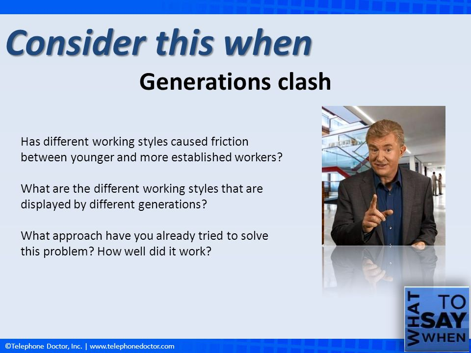Consider this when Generations clash