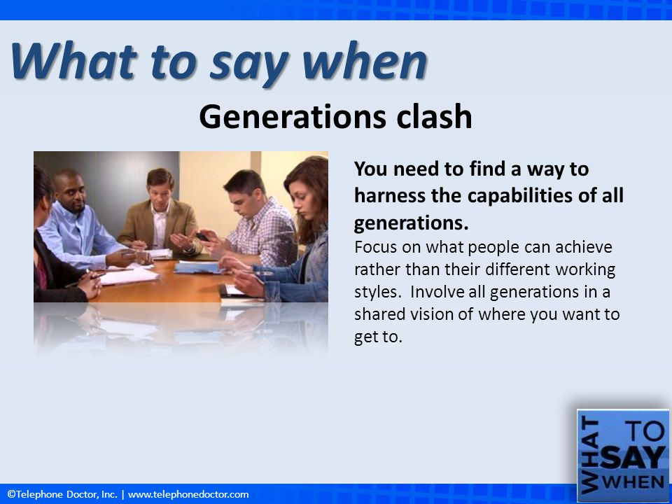 What to say when Generations clash