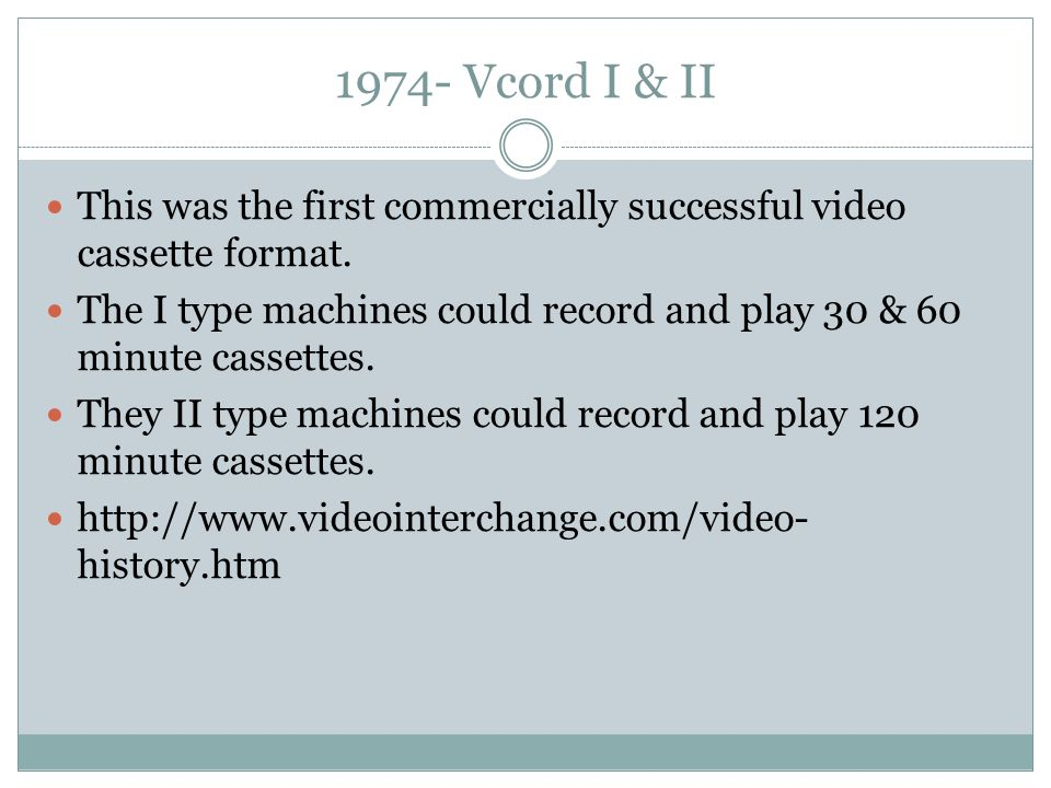 1974- Vcord I & II This was the first commercially successful video cassette format.