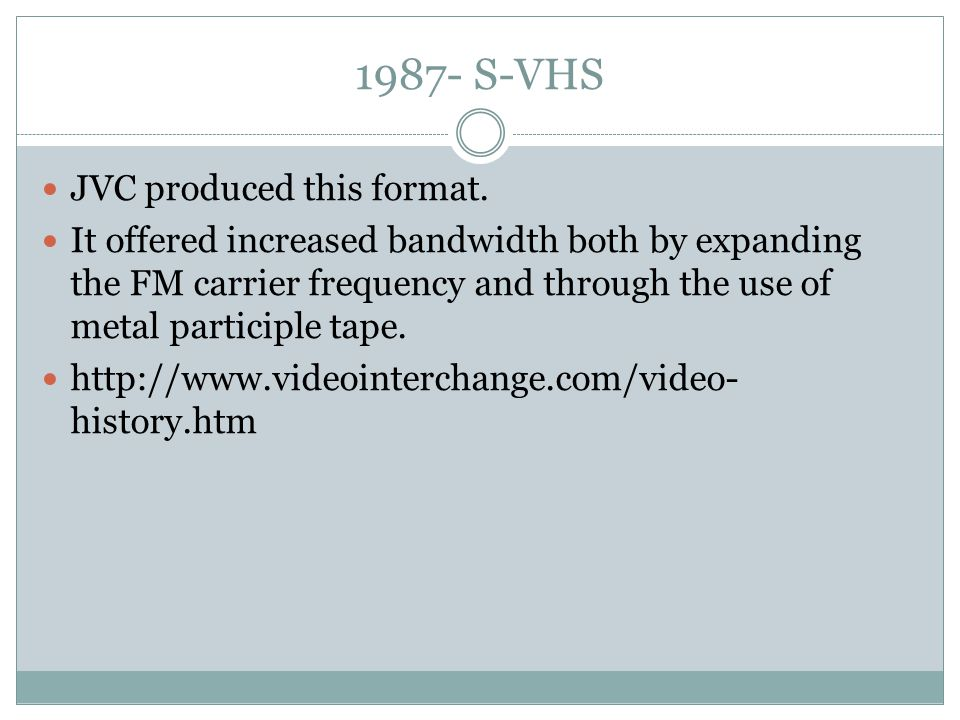 1987- S-VHS JVC produced this format.