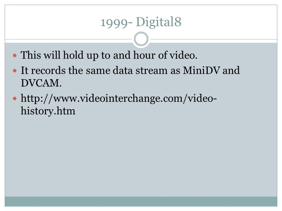 1999- Digital8 This will hold up to and hour of video.