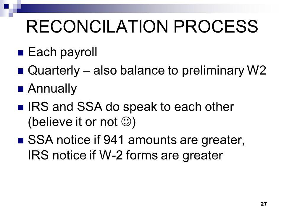 RECONCILATION PROCESS