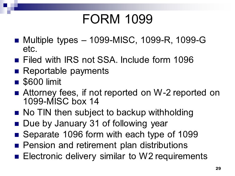 FORM 1099 Multiple types – 1099-MISC, 1099-R, 1099-G etc.