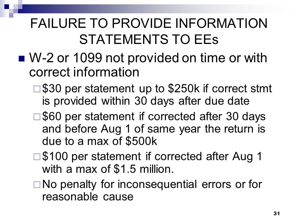 FAILURE TO PROVIDE INFORMATION STATEMENTS TO EEs