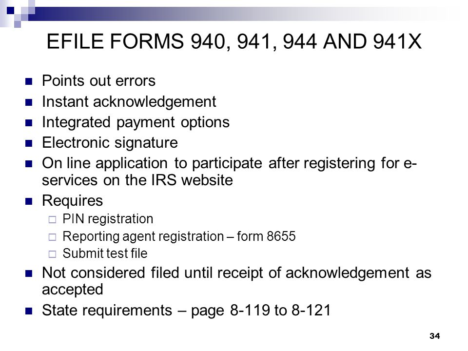 EFILE FORMS 940, 941, 944 AND 941X Points out errors