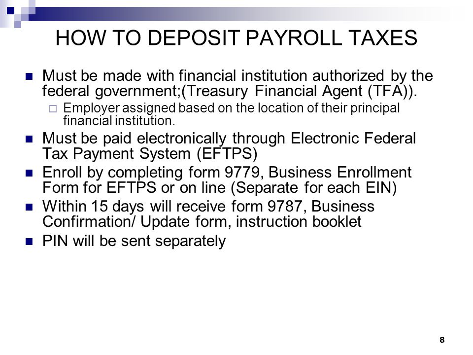HOW TO DEPOSIT PAYROLL TAXES