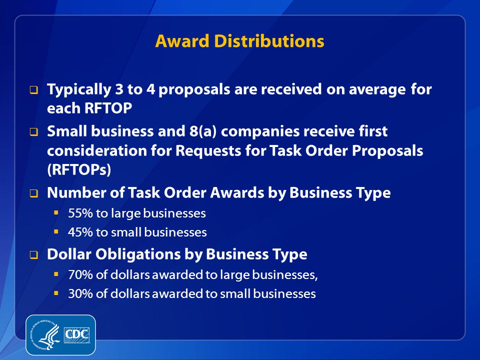 Award Distributions Typically 3 to 4 proposals are received on average for each RFTOP.