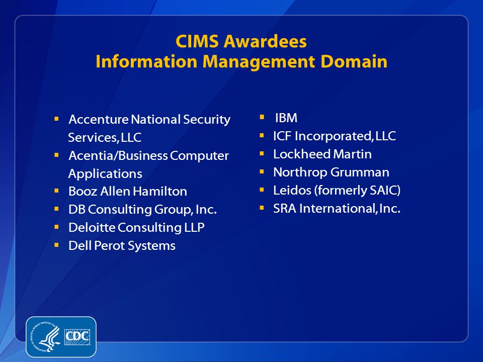 CIMS Awardees Information Management Domain