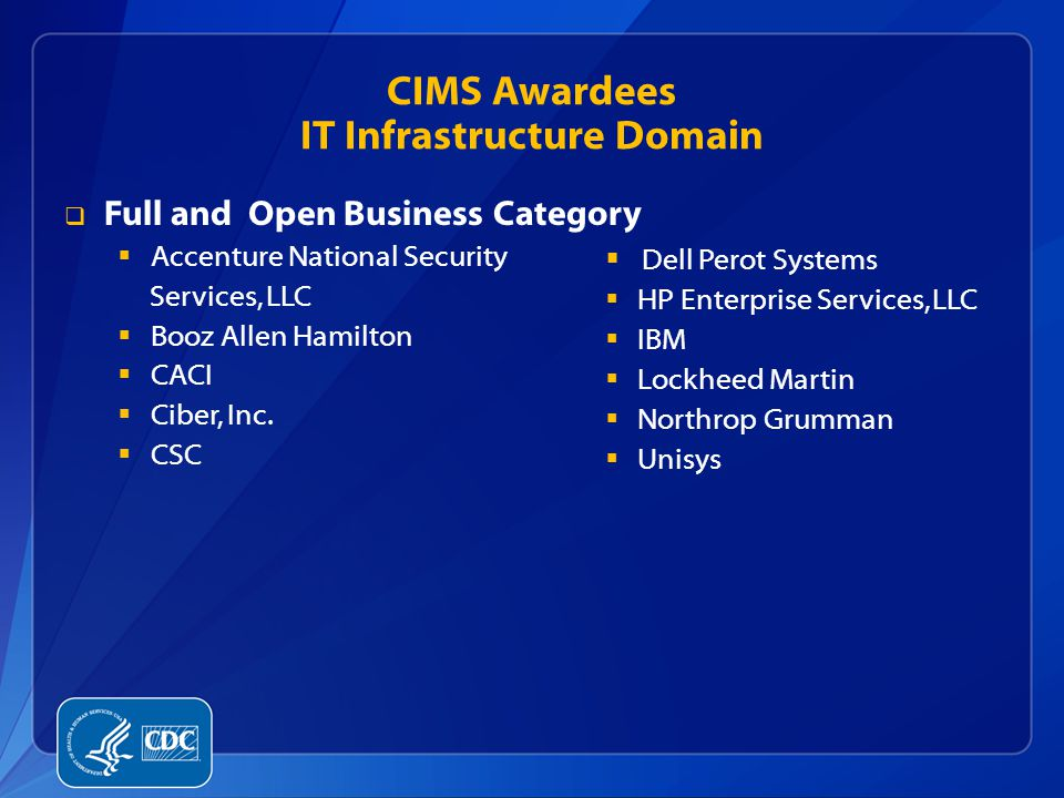 CIMS Awardees IT Infrastructure Domain