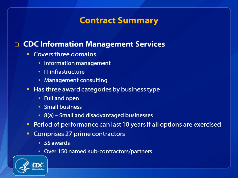 Contract Summary CDC Information Management Services