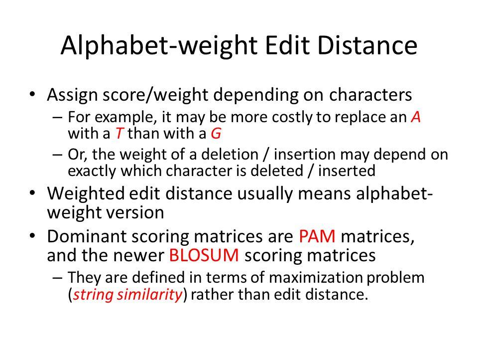 Alphabet-weight Edit Distance