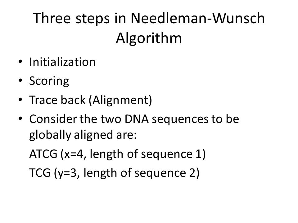 Three steps in Needleman-Wunsch Algorithm