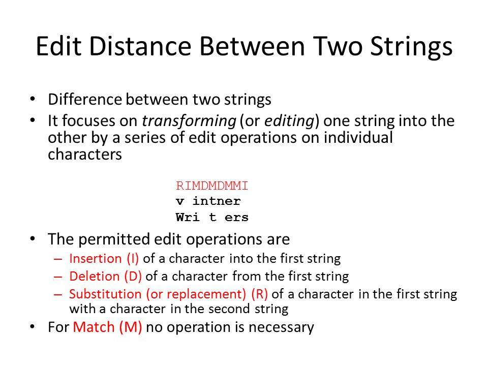 Edit Distance Between Two Strings