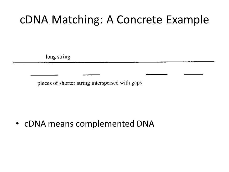 cDNA Matching: A Concrete Example