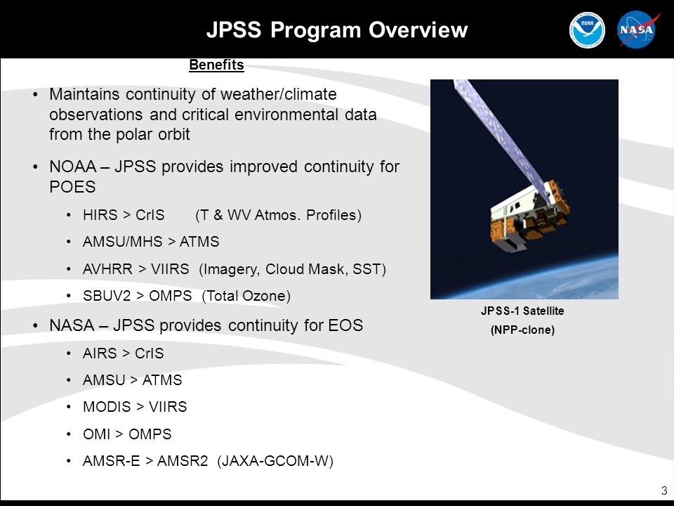 JPSS Program Overview Benefits. Maintains continuity of weather/climate observations and critical environmental data from the polar orbit.