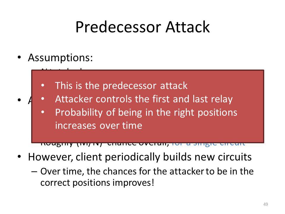 Predecessor Attack Assumptions: