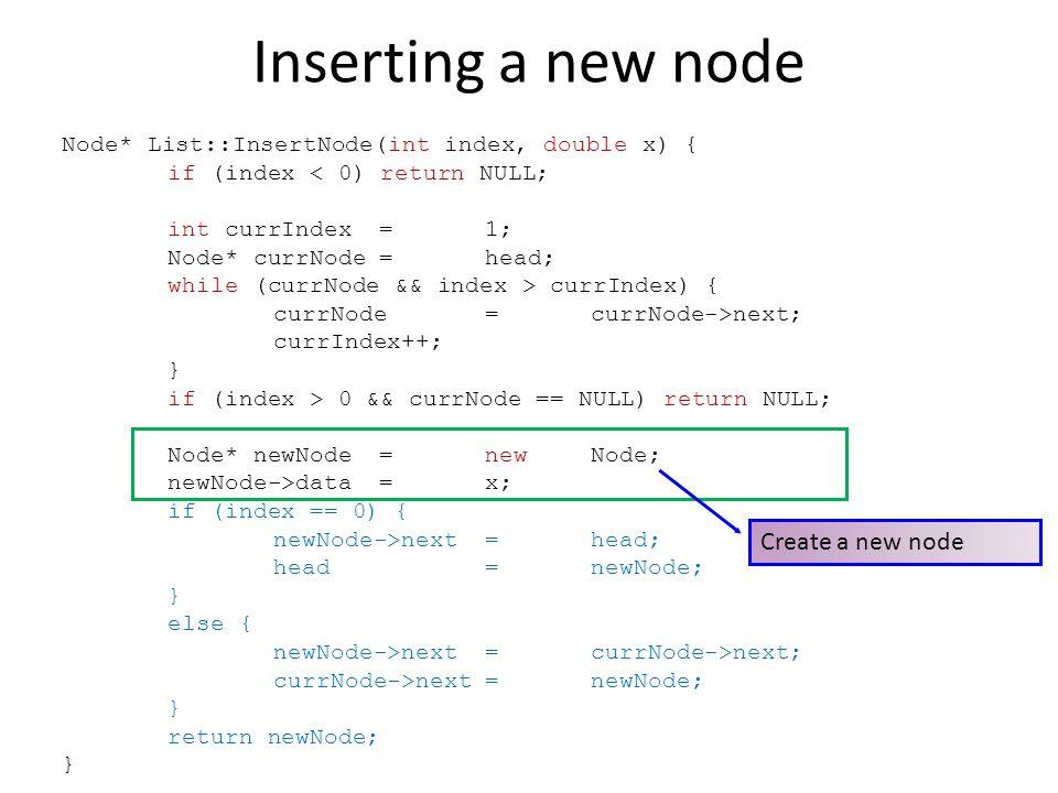 Inserting a new node Create a new node
