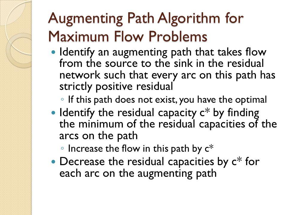 Augmenting Path Algorithm for Maximum Flow Problems