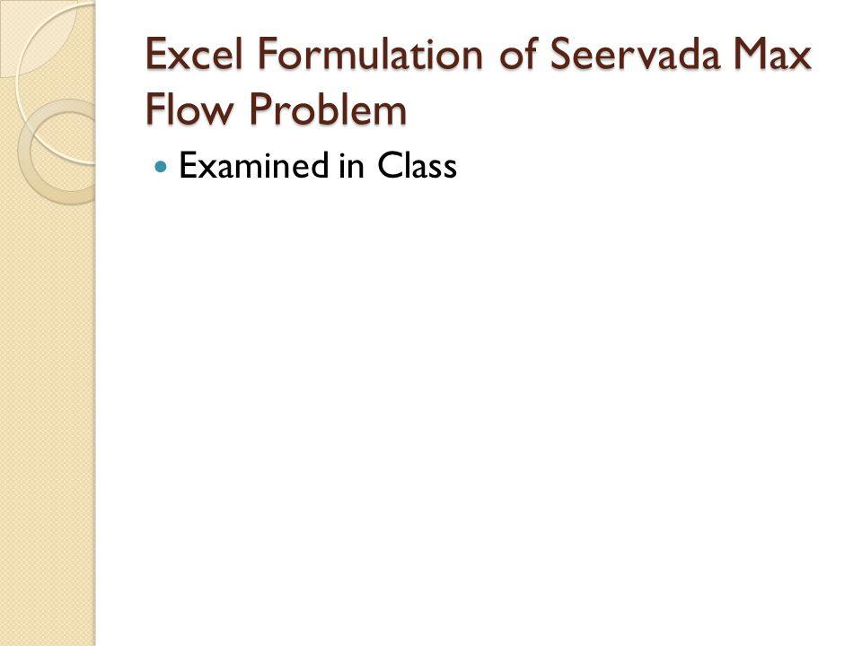 Excel Formulation of Seervada Max Flow Problem