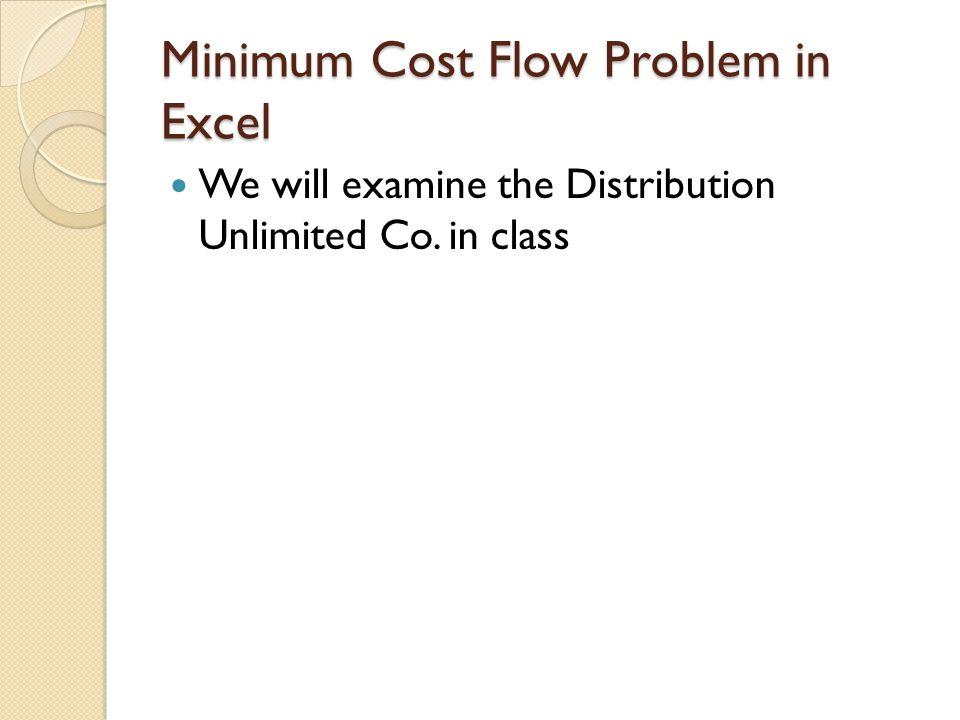 Minimum Cost Flow Problem in Excel
