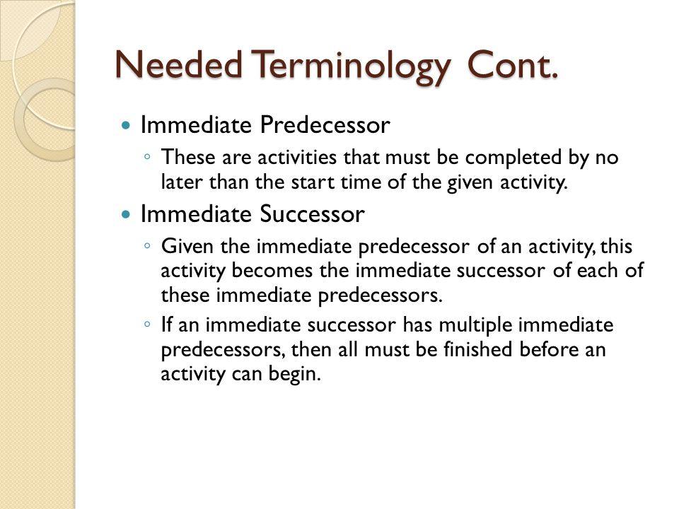 Needed Terminology Cont.