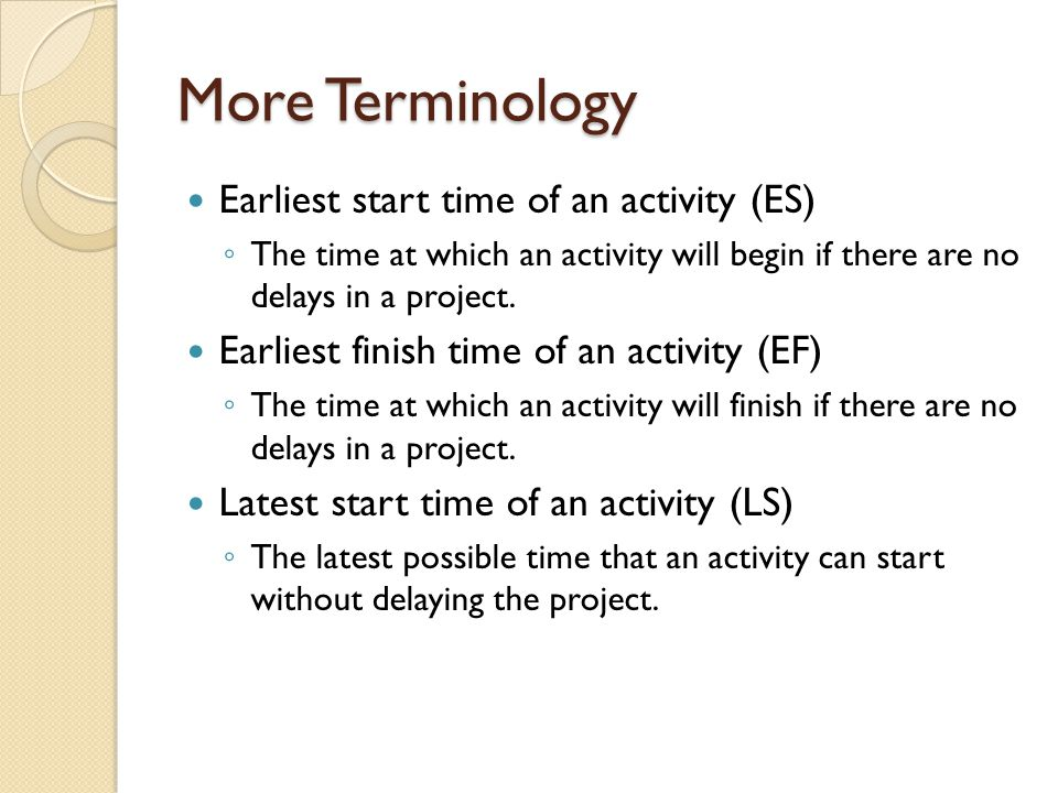 More Terminology Earliest start time of an activity (ES)