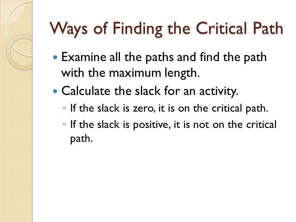 Ways of Finding the Critical Path