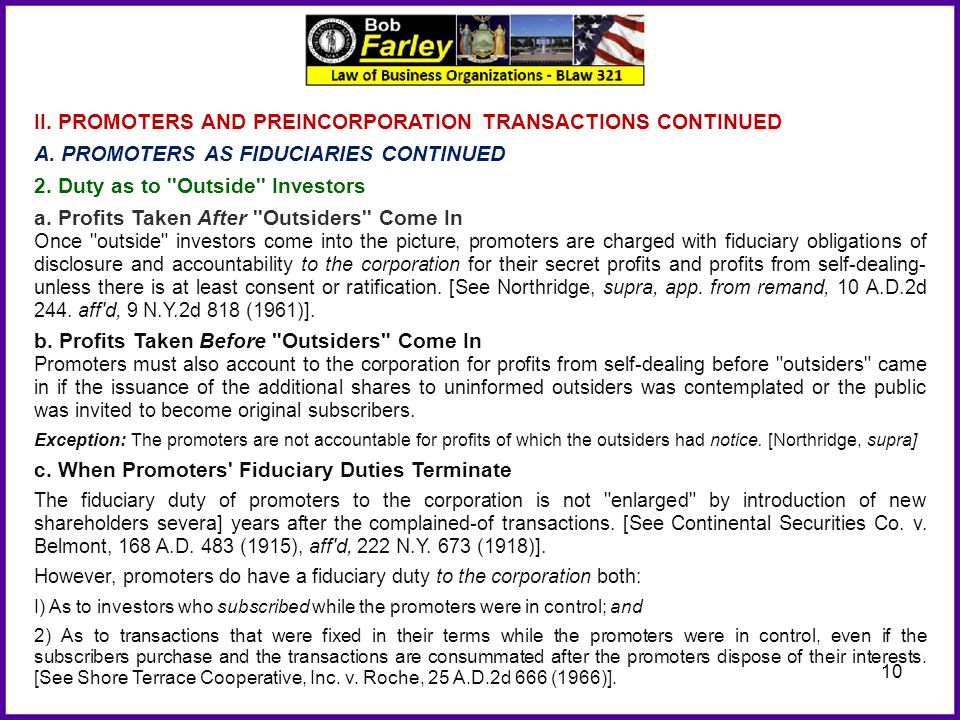 II. PROMOTERS AND PREINCORPORATION TRANSACTIONS CONTINUED