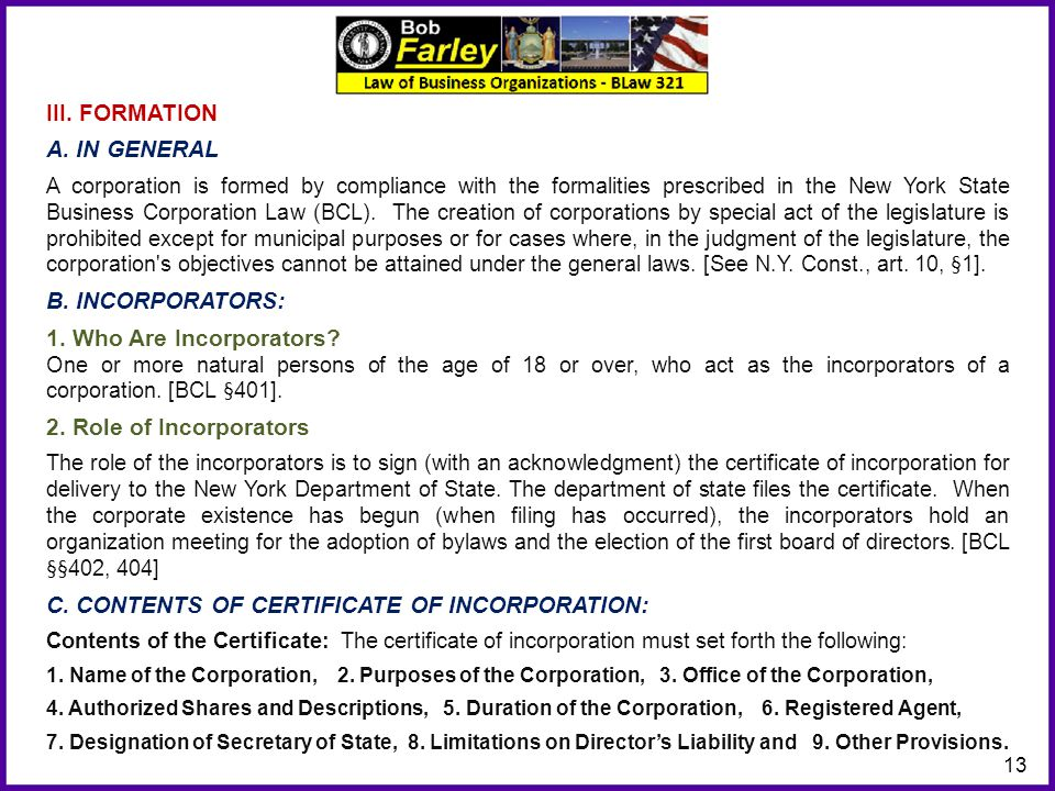 C. CONTENTS OF CERTIFICATE OF INCORPORATION: