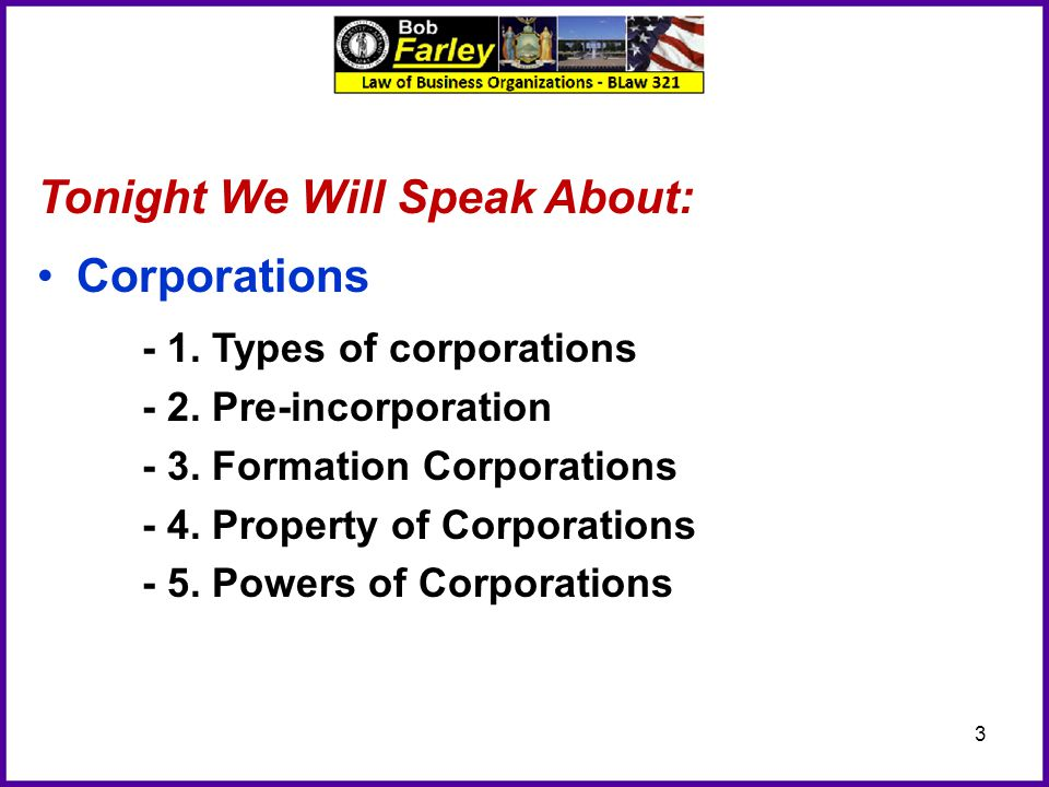 Tonight We Will Speak About: Corporations