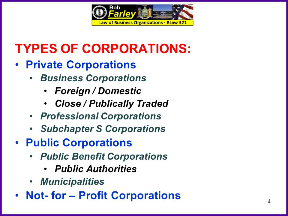 TYPES OF CORPORATIONS: