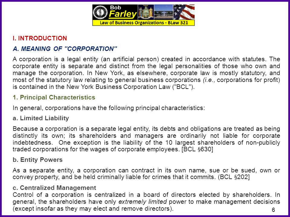 I. INTRODUCTION A. MEANING OF CORPORATION